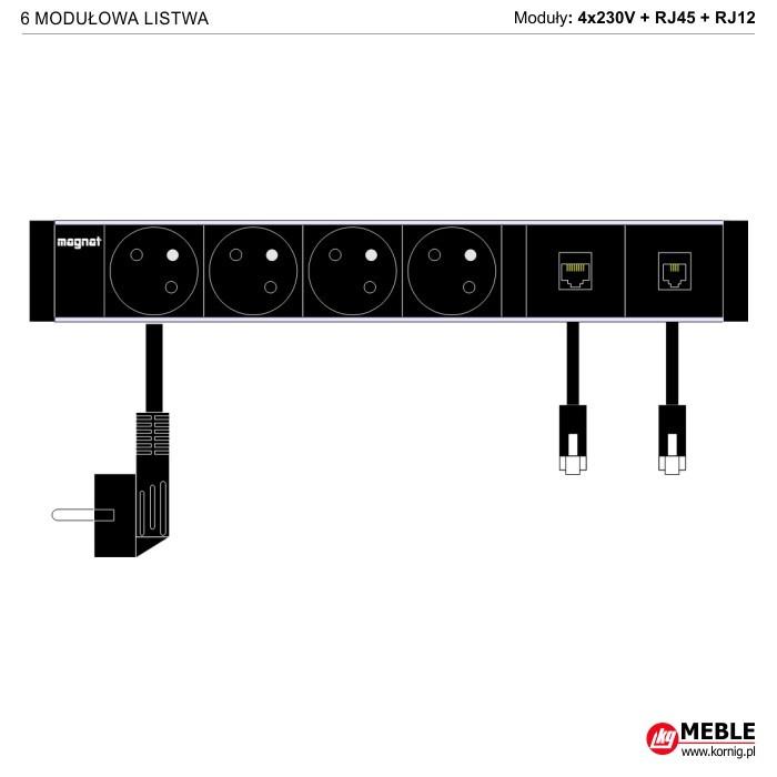 6-modułowa z kablami 4x230V+RJ45+RJ12