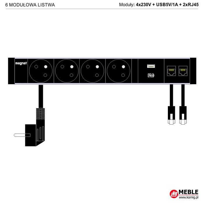 6-modułowa z kablami 4x230V+USBcharge+2xRJ45