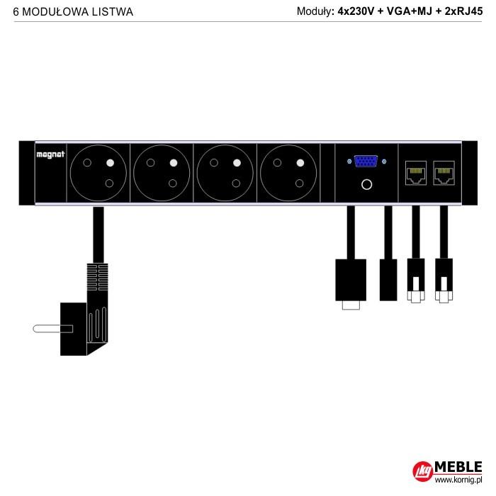 6-modułowa z kablami 4x230V+VGA+MJ+2xRJ45