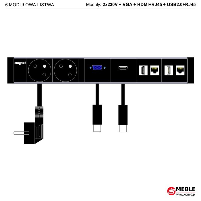 6-modułowa z kablami 2x230V+VGA+HDMI+RJ45+USB2.0+RJ45