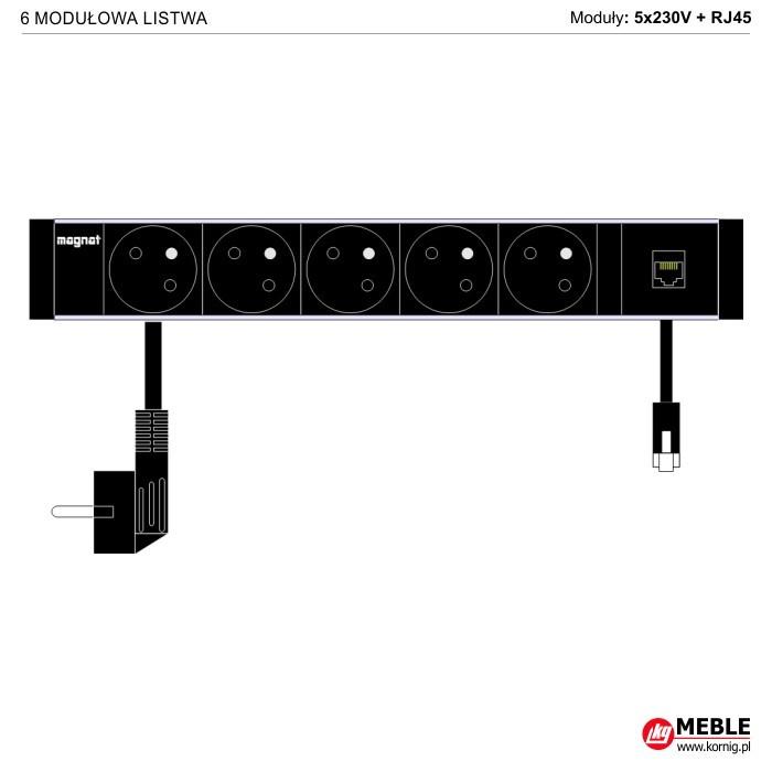 6-modułowa z kablami 5x230V+RJ45
