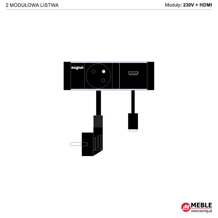 2-modułowa z kablami 230V+HDMI