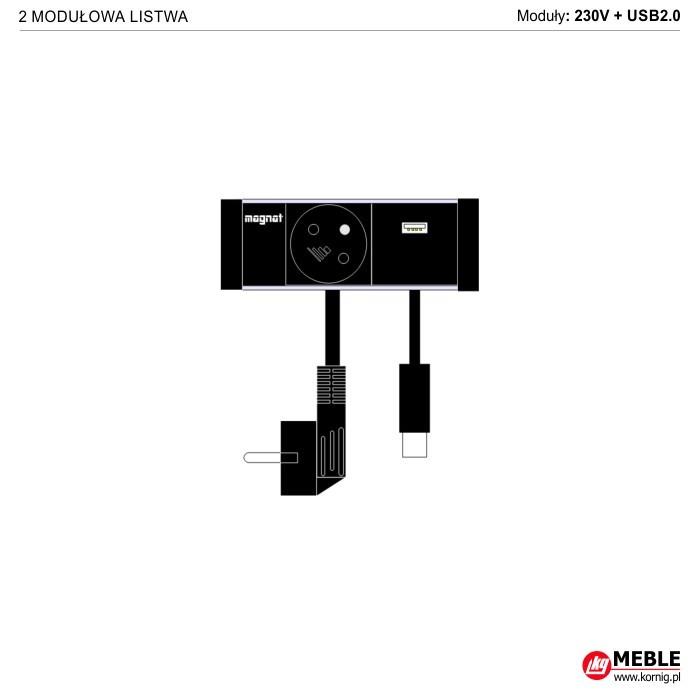 2-modułowa z kablami 230V+USB2.0