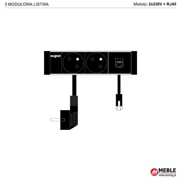 3-modułowa z kablami 2x230V+RJ45