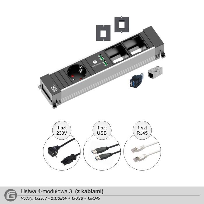 1x230V + 2xUSBcharger + 1xUSB + 1xRJ45 z kablami