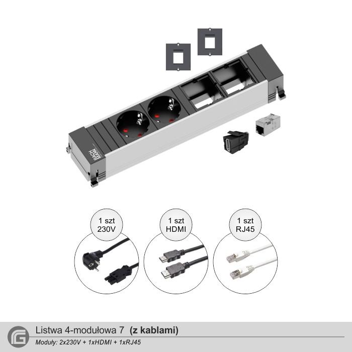 2x230V + 1xHDMI + 1xRJ45 z kablami