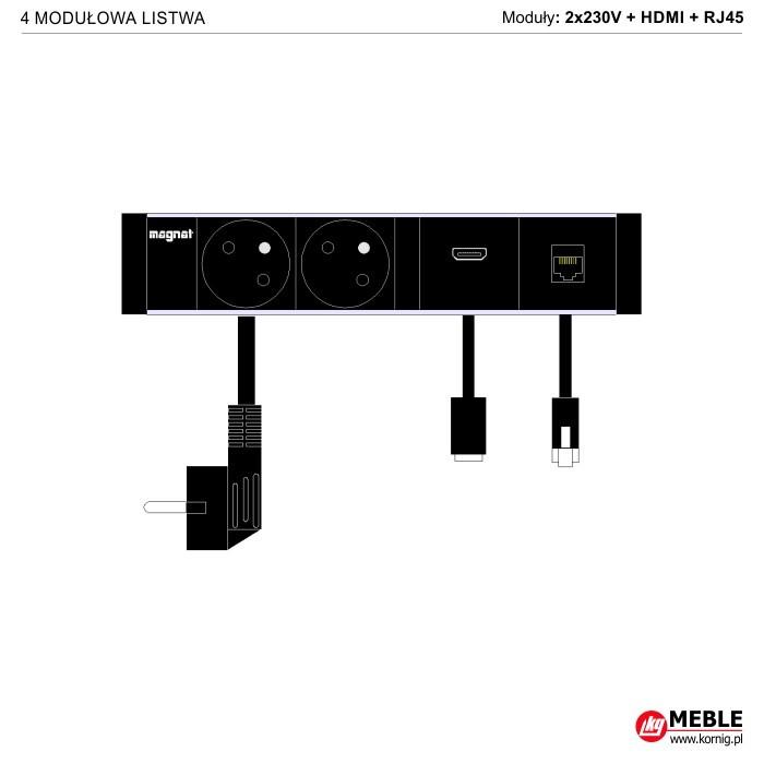 4-modułowa z kablami 2x230V+HDMI+RJ45