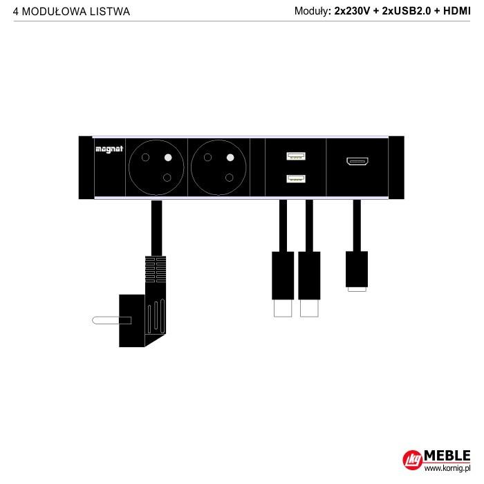 4-modułowa z kablami 2x230V+2xUSB2.0+HDMI